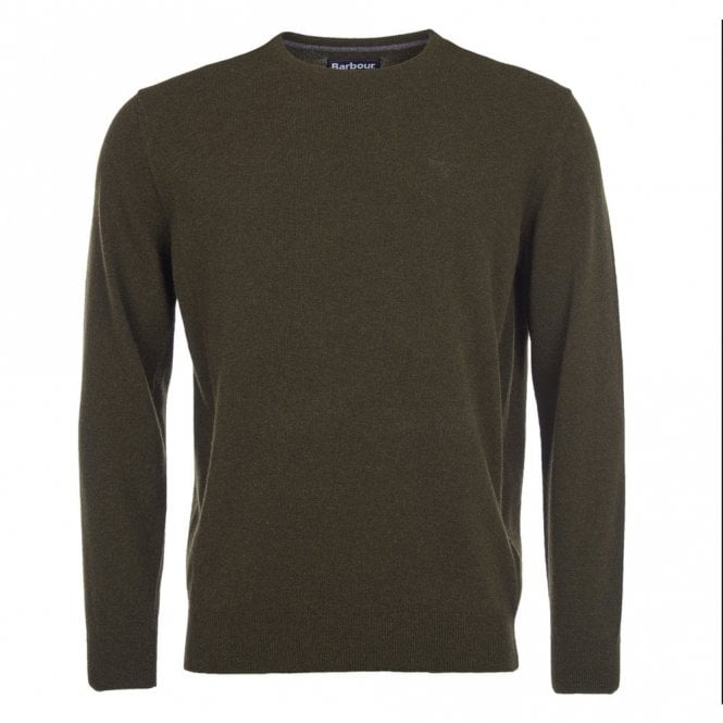 Barbour Essential Lambswool Crew Neck Jumper in Seaweed .mkn0345