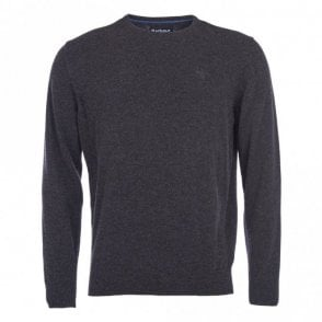 Barbour Essential Lambswool Crew Neck Jumper in Charcoal .mkn0345