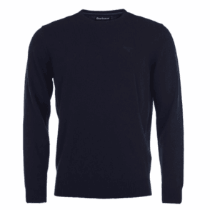 Barbour Essential Lambswool Crew Neck Jumper in Navy .mkn0345