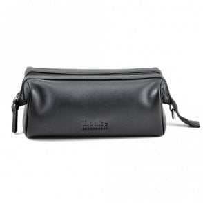 Loake Thames washbag in black leather