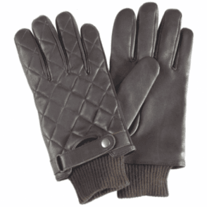 Barbour Quilted Leather Gloves in Brown .mgl0027