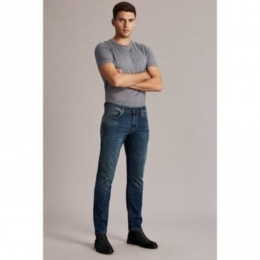 Selected Homme Straight Scott Jeans in Dark Blue