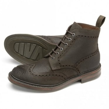 Loake Bedale dark brown waxed suede