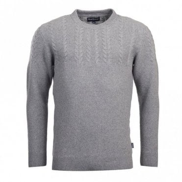 Barbour Crastill Cable Crew Neck Sweater in Grey .mkn1122