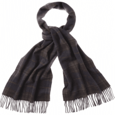 Barbour Bridgnall Lambswool Scarf in Olive/Brown.usc0107