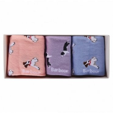 Barbour Womens Mixed Dog Sock Gift Set .lac0163