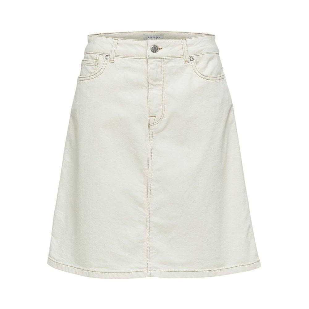 af850e6e04 Selected Femme Selected Femme High Waisted Denim Skirt in White
